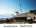old wooden fishing boat on the... | Shutterstock . vector #706997251
