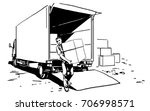 porter brings a boxes ... | Shutterstock .eps vector #706998571