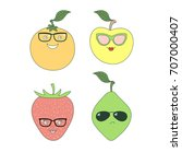 set of hand drawn cute funny... | Shutterstock .eps vector #707000407