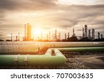 steel long pipes in crude oil... | Shutterstock . vector #707003635