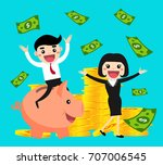 happy business people ride... | Shutterstock .eps vector #707006545