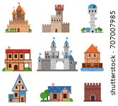 medieval historical buildings... | Shutterstock .eps vector #707007985