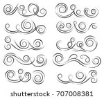 calligraphic black and elegant... | Shutterstock .eps vector #707008381