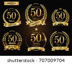 anniversary golden laurel... | Shutterstock .eps vector #707009704