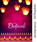 beautiful happy deepawali text... | Shutterstock .eps vector #707016544