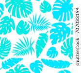 seamless tropical palms pattern.... | Shutterstock .eps vector #707033194