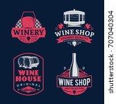 set of vector wine logo  icons... | Shutterstock .eps vector #707040304