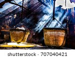 boil salt  lapping crystallized ... | Shutterstock . vector #707040421