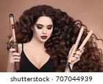 curly hair. beauty close up of... | Shutterstock . vector #707044939