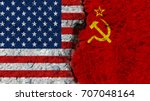 united states flag and soviet... | Shutterstock . vector #707048164