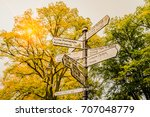 travel guide post sign with...   Shutterstock . vector #707048779