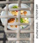 fine dining dessert  apricot... | Shutterstock . vector #707059189