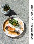 plated freshly grilled pork... | Shutterstock . vector #707059285