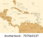 central america map   vintage... | Shutterstock .eps vector #707063137