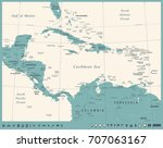 central america map   vintage... | Shutterstock .eps vector #707063167
