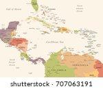 central america map   vintage...   Shutterstock .eps vector #707063191