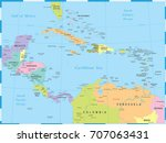 central america map   detailed...   Shutterstock .eps vector #707063431