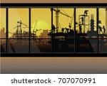 construction crane silhouette...   Shutterstock .eps vector #707070991