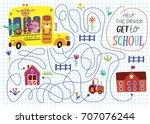 funny maze for children. back... | Shutterstock .eps vector #707076244