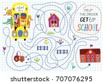 funny maze for children. back... | Shutterstock .eps vector #707076295