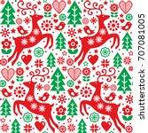 christmas folk red and green... | Shutterstock .eps vector #707081005