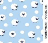 sheep. seamless pattern. vector ... | Shutterstock .eps vector #707082481