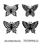 Stock vector collection of black butterflies isolated on transparent background laser cut vector set 707099611