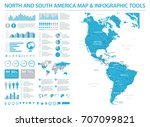 north and south america map  ... | Shutterstock .eps vector #707099821