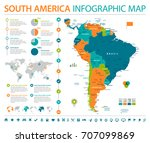 south america map   detailed... | Shutterstock .eps vector #707099869
