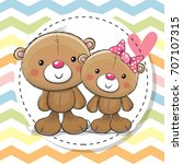 greeting card with two cute... | Shutterstock .eps vector #707107315