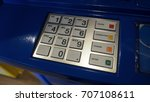 blue color banking atm machine... | Shutterstock . vector #707108611