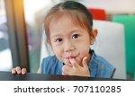 Little Asian Girl With Finger...