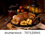 duck on old polish roasted with ... | Shutterstock . vector #707120041