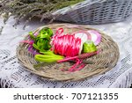 ribbons and cutted lavender... | Shutterstock . vector #707121355