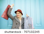happy young girl satisfied... | Shutterstock . vector #707132245