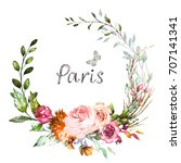 hand painted card  watercolor... | Shutterstock . vector #707141341