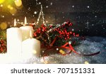 candels with christmas... | Shutterstock . vector #707151331