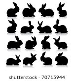 Stock photo collection of different rabbit silhouettes 70715944