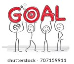 team achieves goal   vector... | Shutterstock .eps vector #707159911