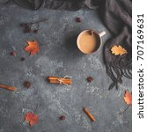 autumn composition. cup of... | Shutterstock . vector #707169631