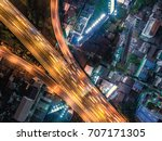aerial top view highway... | Shutterstock . vector #707171305