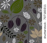 seamless floral pattern in... | Shutterstock .eps vector #707183311