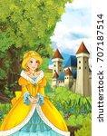 cartoon beautiful princess... | Shutterstock . vector #707187514