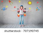 kid with jet pack. child... | Shutterstock . vector #707190745