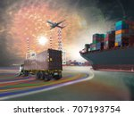 ship with container  train... | Shutterstock . vector #707193754