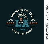 la surf club.  handmade dolphin ... | Shutterstock .eps vector #707196064