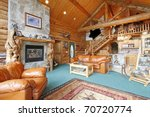 Horse farm log cabin in Washington State - stock photo