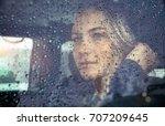 portrait of a beautiful sad... | Shutterstock . vector #707209645