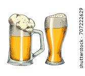 sketched beer engraved in ink... | Shutterstock .eps vector #707222629