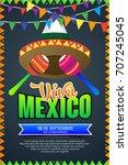 viva mexico  traditional... | Shutterstock .eps vector #707245045